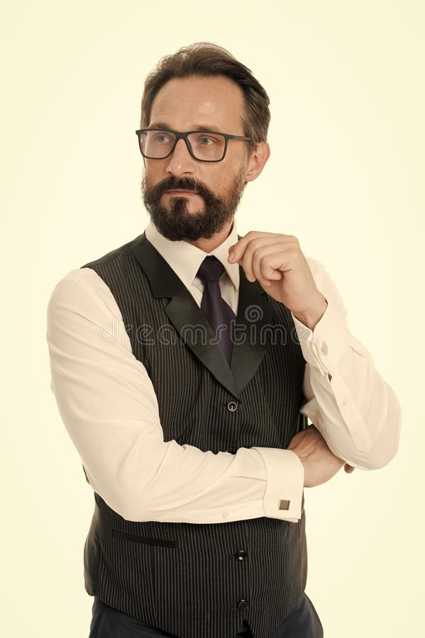 Guide to prescription eyeglass lenses and frames. Businessman classic formal clothing and proper eyewear white. Background. Business appearance must be proper royalty free stock photography