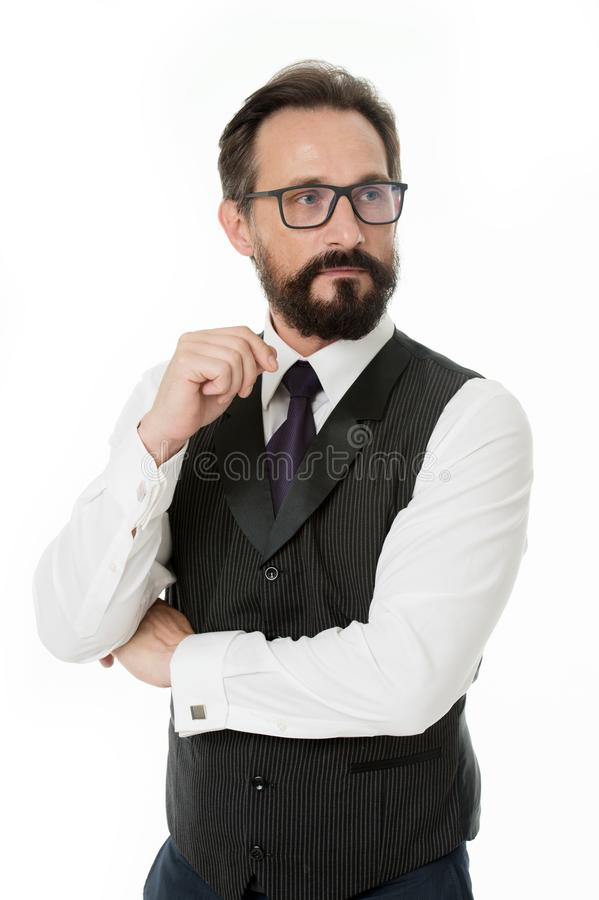 Guide to prescription eyeglass lenses and frames. Businessman classic formal clothing and proper eyewear white royalty free stock image