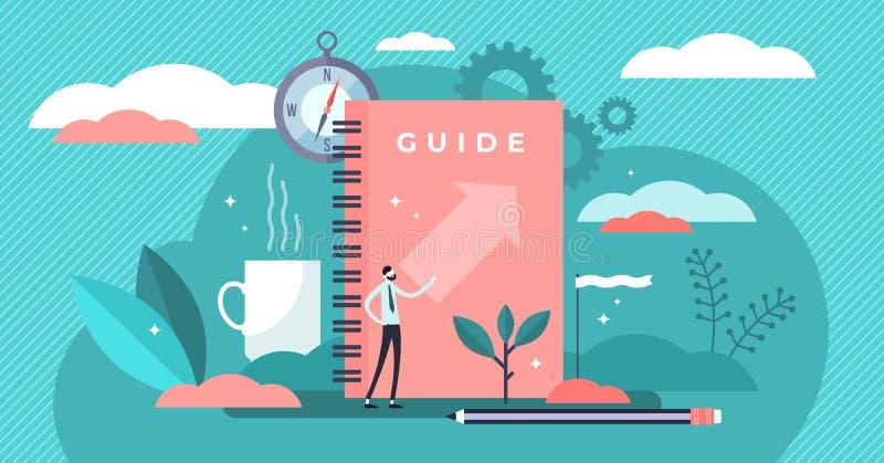Guide vector illustration. Tiny technical FAQ information persons concept. Guide vector illustration. Flat tiny technical FAQ information persons concept stock illustration