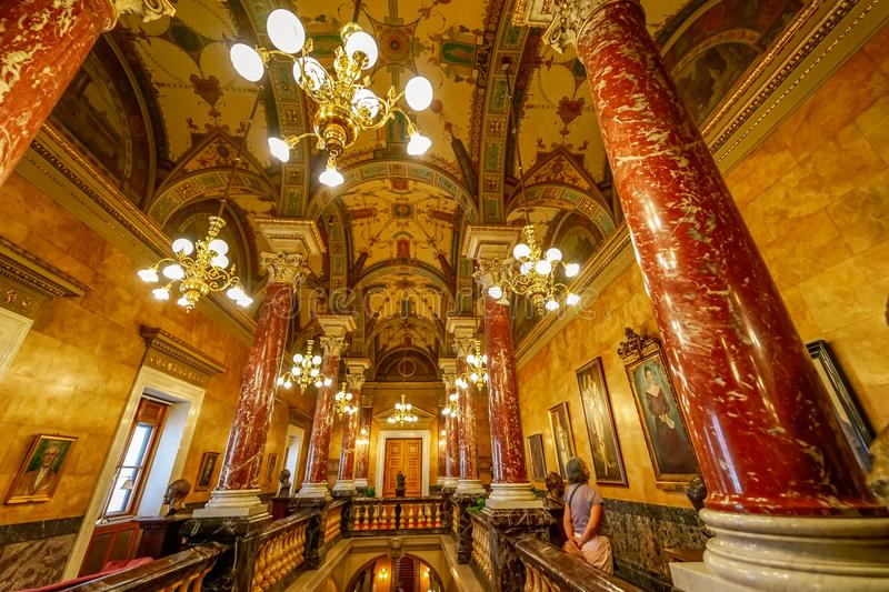 Guided tour at Budapest opera stock photography