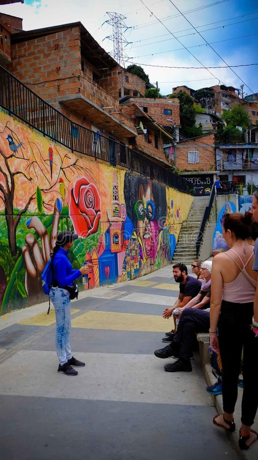 Guided Tour in Comuna 13 stock photo
