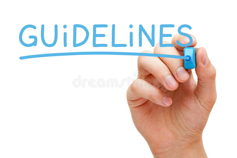 Guidelines Blue Marker. Hand writing Guidelines with blue marker on transparent wipe board stock photo