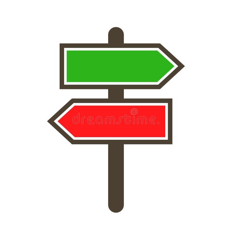 Guidepost και υπόδειξη των ξύλινων οδικών σημαδιών δεικτών βελών - διάνυσμα απεικόνιση αποθεμάτων
