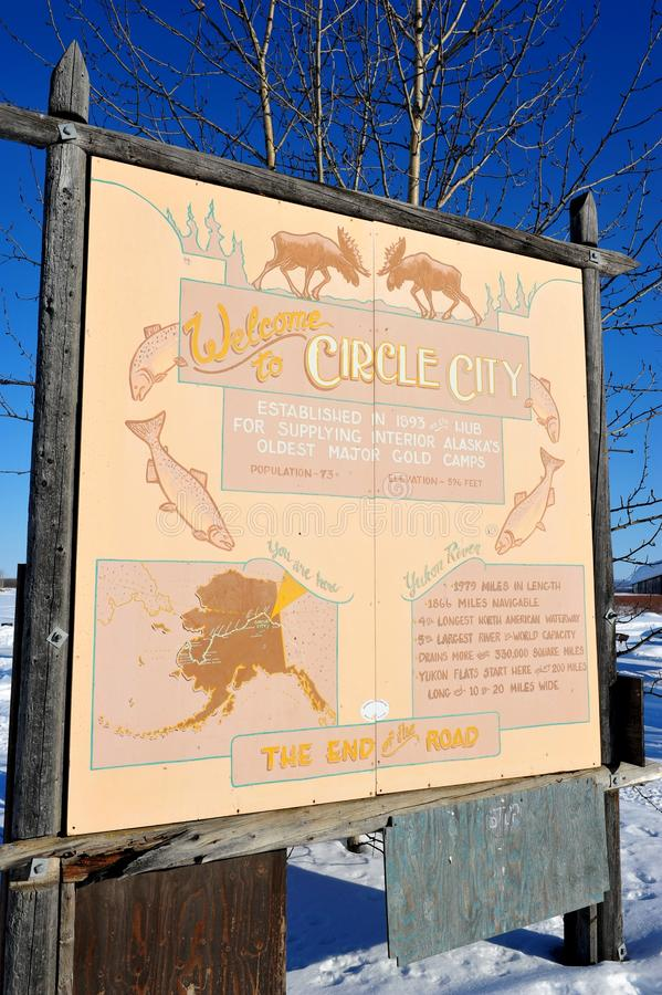 Guidepost на городе круга, Аляска стоковая фотография rf