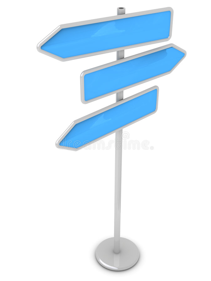 Guidepost. On a way (in the form of color arrows, for your text vector illustration