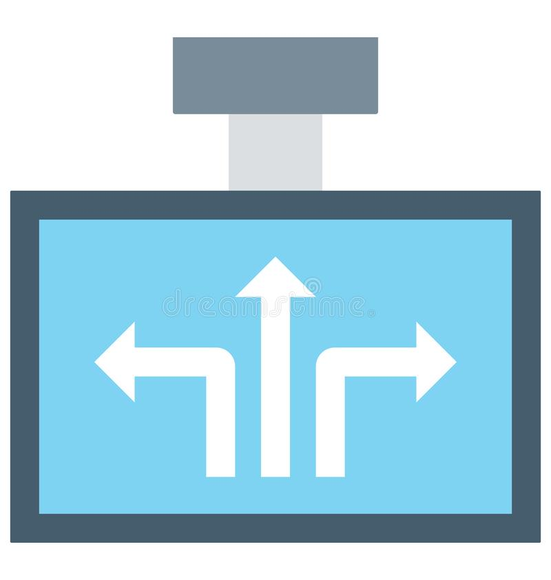 Guidepost Color Illustration Vector Icon royalty free illustration
