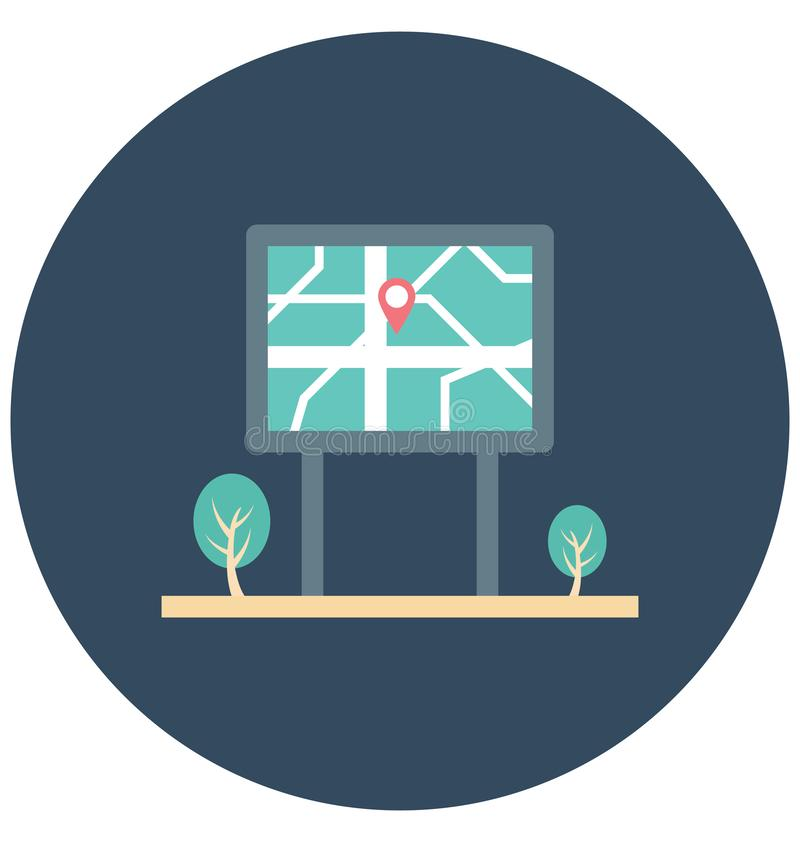 Guidepost Color Illustration Vector Icon vector illustration