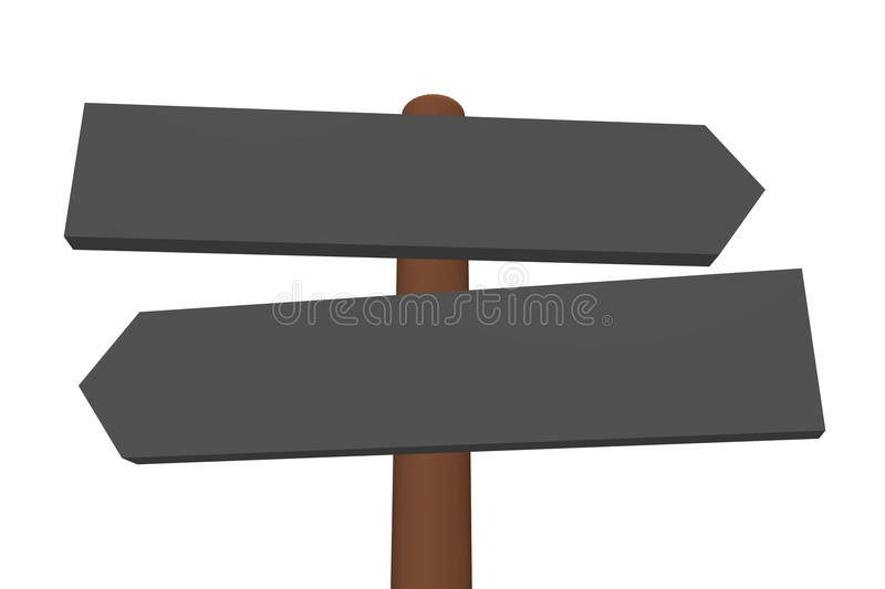 Guidepost 3D. Left and right 3D arrow signs on a wooden rod - guidepost. Cartoon style. Isolated 3D illustration on white background. Space for text stock illustration