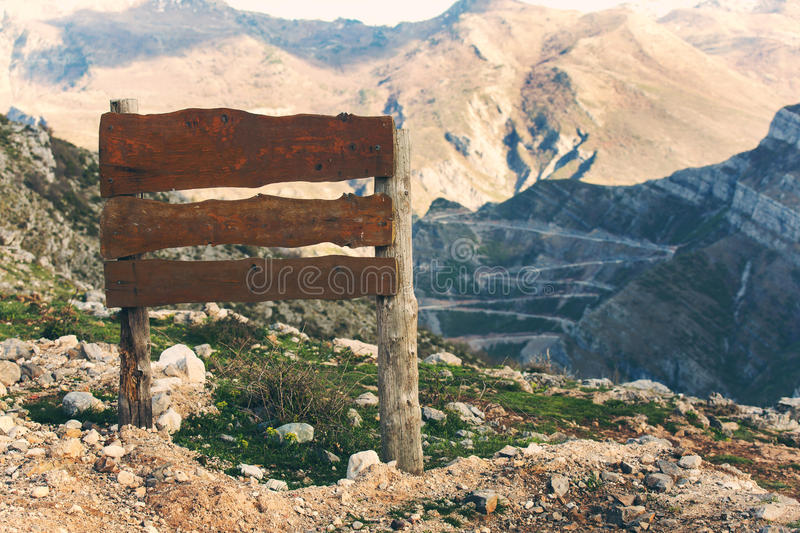 Guidepost at the mountain canyon royalty free stock photos