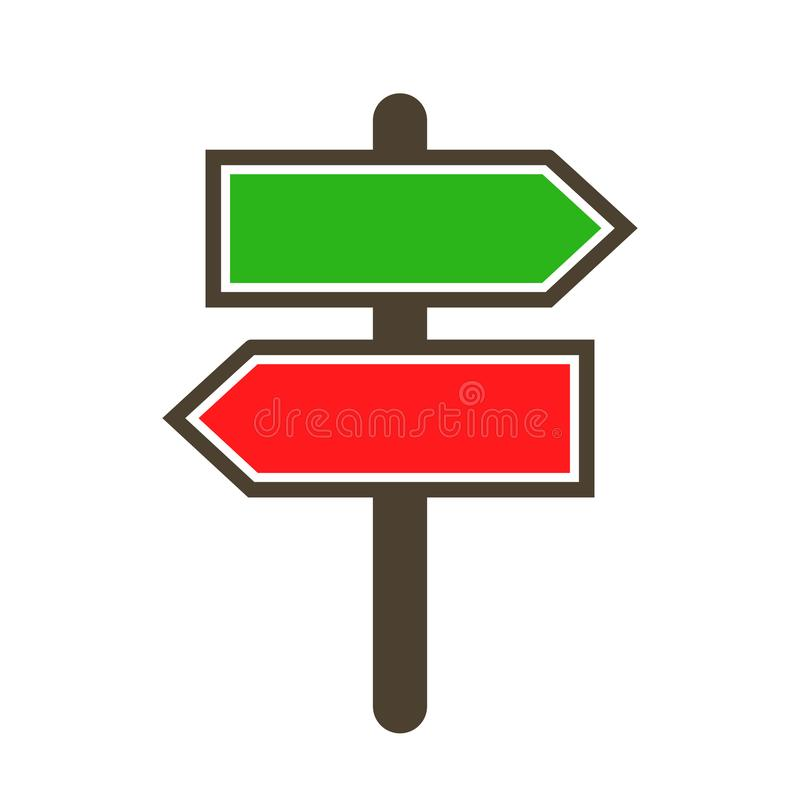 Guidepost and pointing wooden arrows index road signs - vector stock illustration