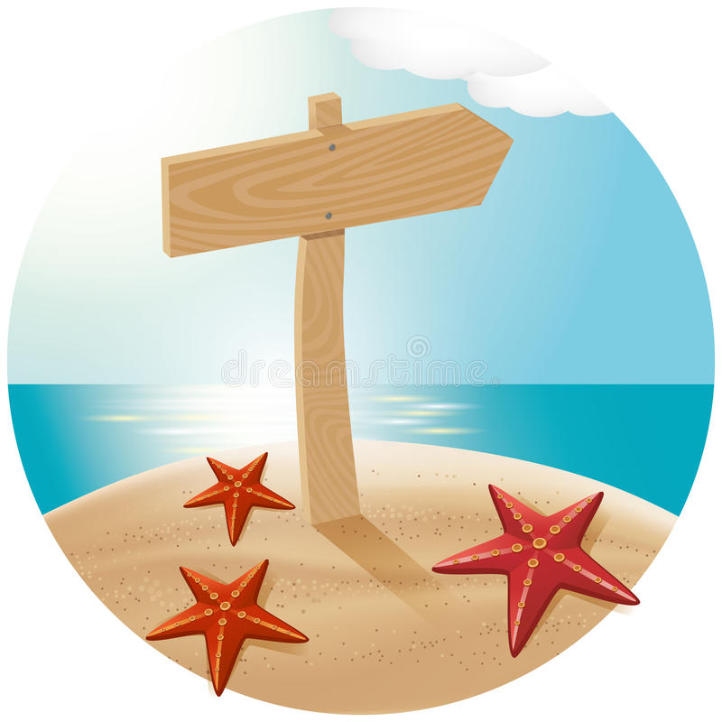 Guidepost At The Sea Beach. Vector travel concept. Guidepost at the beach with the sea stars stock illustration