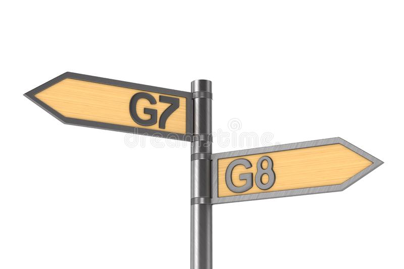 Guidepost with sign G7 and G8 group on white background. Isolated 3D illustration.  royalty free illustration