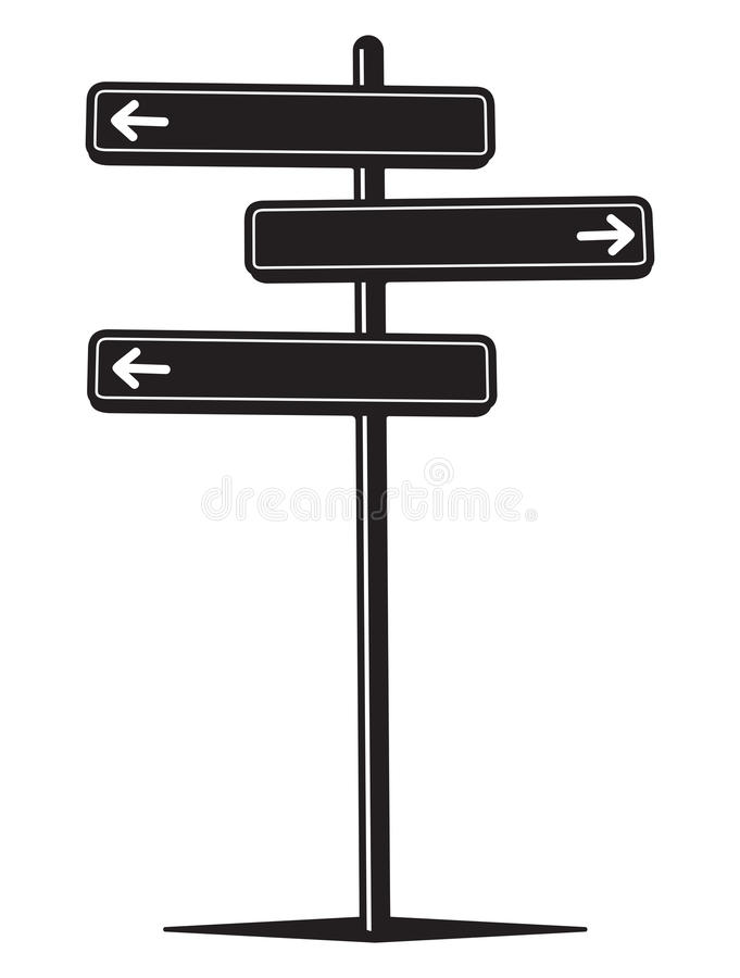 Guidepost. Vector illustration of the guidepost pointing in different directions stock illustration