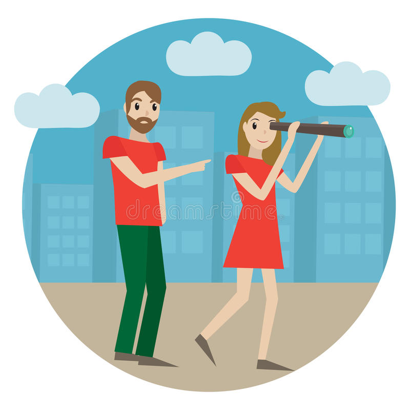 Guides in the city, tour guide. Girl looks into a telescope, man shows the way, landmarks, concept. Tourism icon. Guide service. Vector illustration royalty free illustration