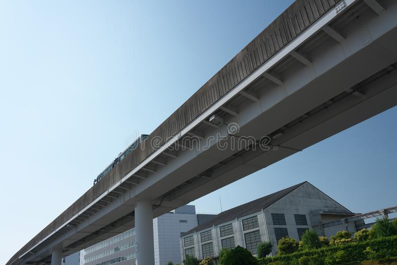 A guideway bus system or guided busway, Yutorito line, track near Ozone station in Nagoya, Japan. Aichi,Japan-June 6, 2019: A guideway bus system or guided royalty free stock image