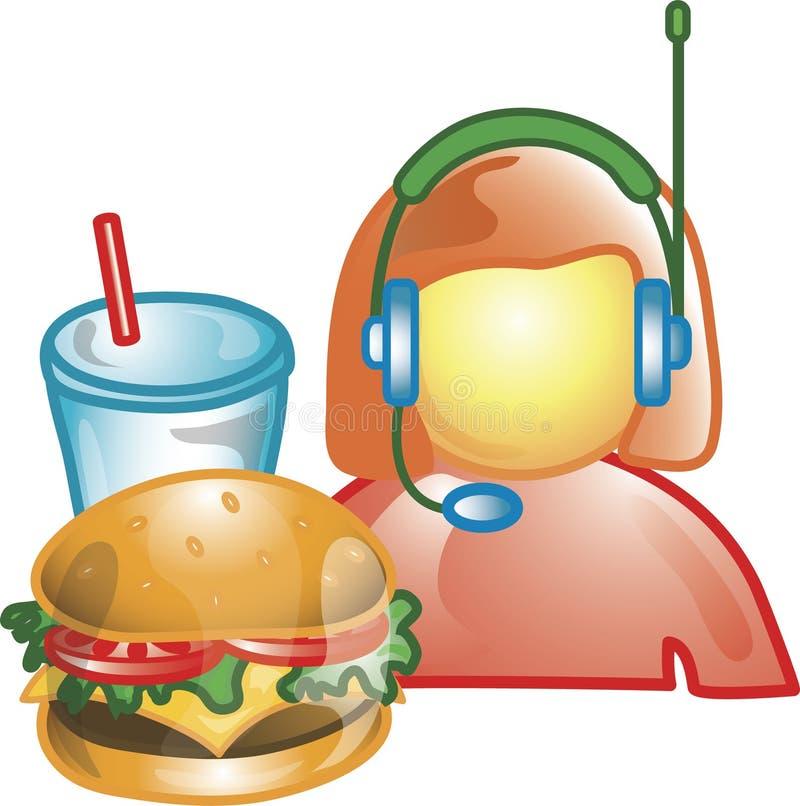Guidi attraverso l'icona dell'operatore dell'alimento illustrazione vettoriale