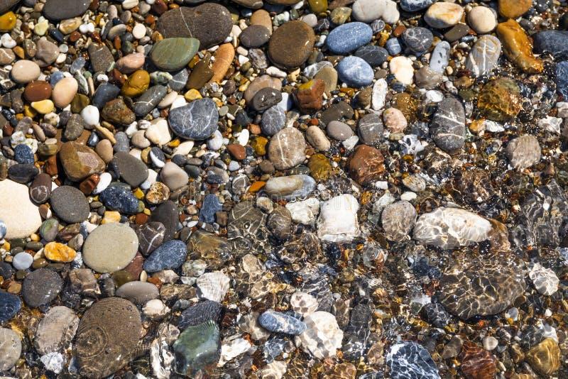 Guijarros hermosos en el cierre de la playa para arriba imagenes de archivo