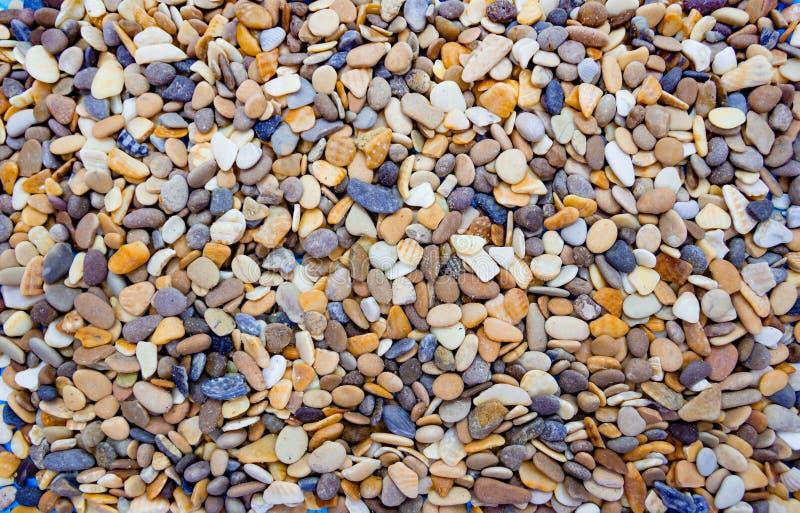 Guijarros redondos multicolores en la playa Fondo hermoso imagenes de archivo