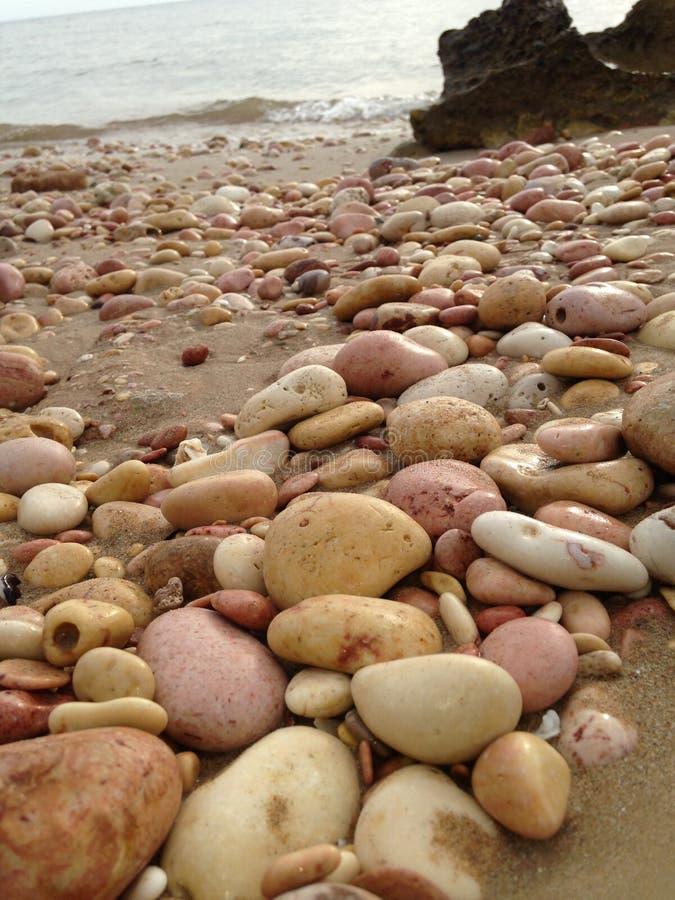 Guijarros rosados en la playa foto de archivo