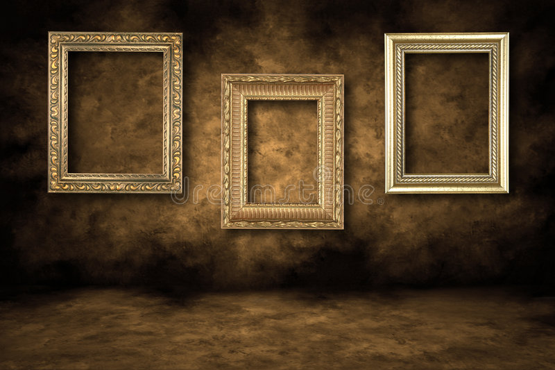 Guilded Empty Picture Frames Hanging stock photo