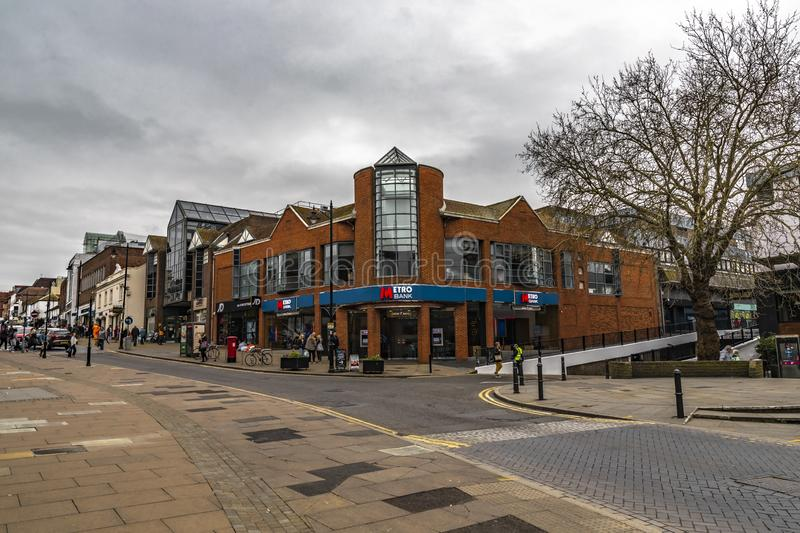 Metro Bank In Guildford. Guildford, United Kingdom - March 23, 2019: Street view of the Metro Bank building in the medieval city of Guildford, England stock photo
