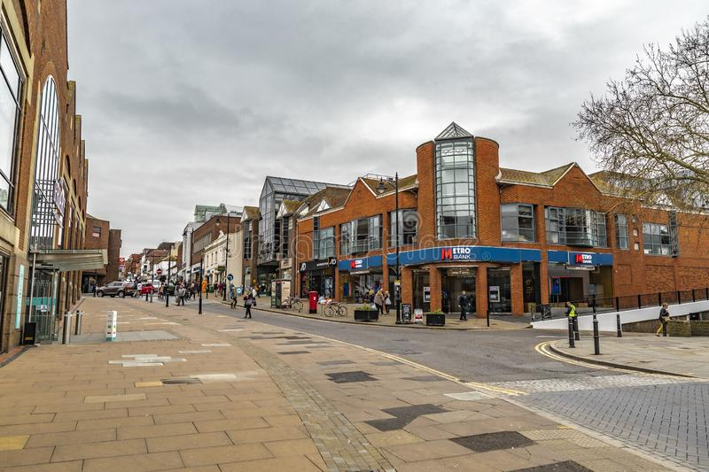 Metro Bank In Guildford. Guildford, United Kingdom - March 23, 2019: Street view of the Metro Bank building in the medieval city of Guildford, England stock image