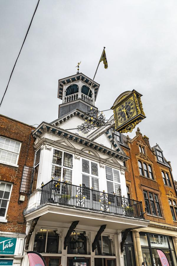 Guildford Guildhall Historic Clock. Guildford, United Kingdom - March 23, 2019: View of the guildhall historic clock in the city centre high street of the royalty free stock images