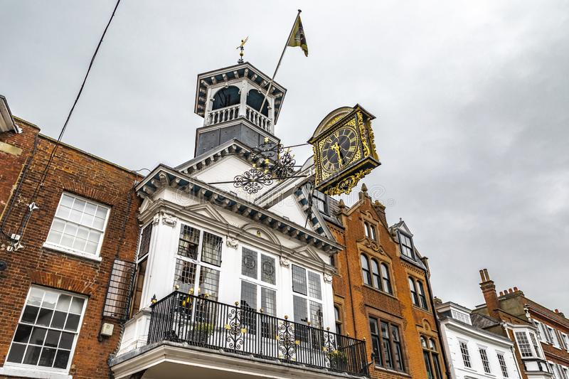 Guildford Guildhall Historic Clock. Guildford, United Kingdom - March 23, 2019: View of the guildhall historic clock in the city centre high street of the stock photo
