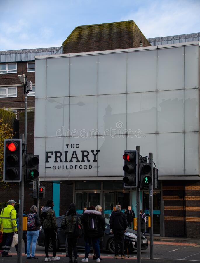 Friary Shopping Centre Guildford. Guildford, United Kingdom - November 06 2019:   The entrance to the Friary Shopping Centre on Bridge Street royalty free stock image