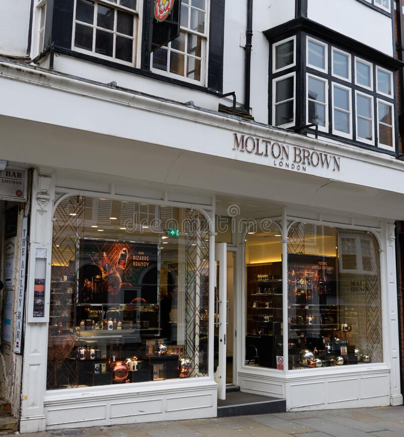 Guildford. United Kingdom - November 06 2019:  The frontage of the Moulton Brown store on High Street royalty free stock photos