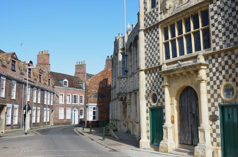 Guildhall Kings Lynn street view. Guildhall Kings Lynn with street view stock images