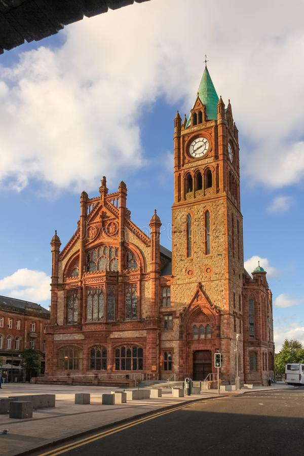 The Guildhall. Derry Londonderry. Northern Ireland. United Kingdom. The Guildhall viewed from Shipquay Gate. Derry Londonderry. Northern Ireland. United Kingdom royalty free stock photos
