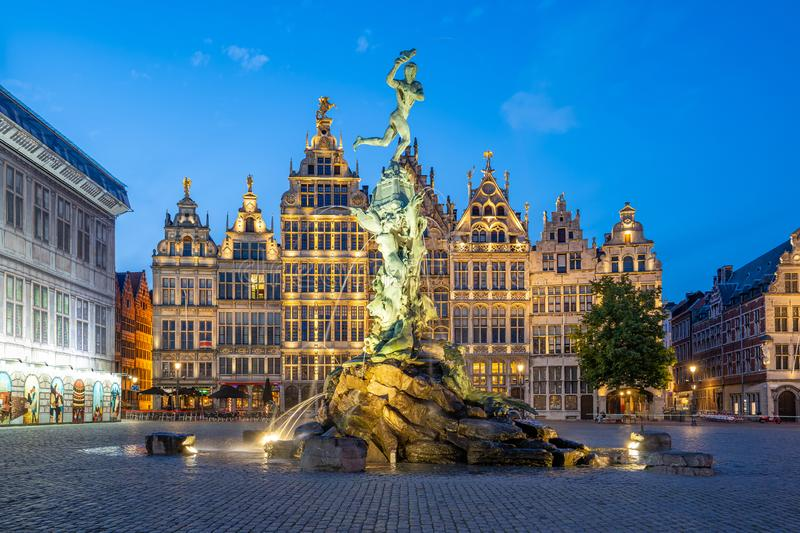 Guildhalls of Grote Markt of Antwerp in Belgium. At night royalty free stock photography