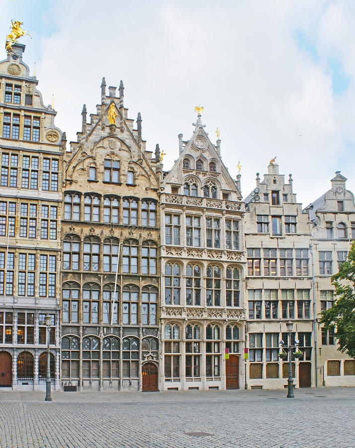 The Guildhouses of Antwerp stock image
