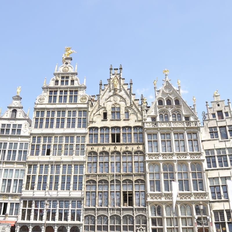 Guildhouses at Grote Markt in Antwerp, Belgium stock images