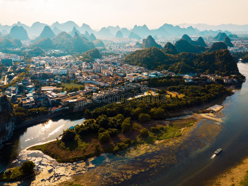 Guilin aerial view with Li river and rock formations in China. Guilin aerial view with Li river and stunning rock formations in China royalty free stock photography