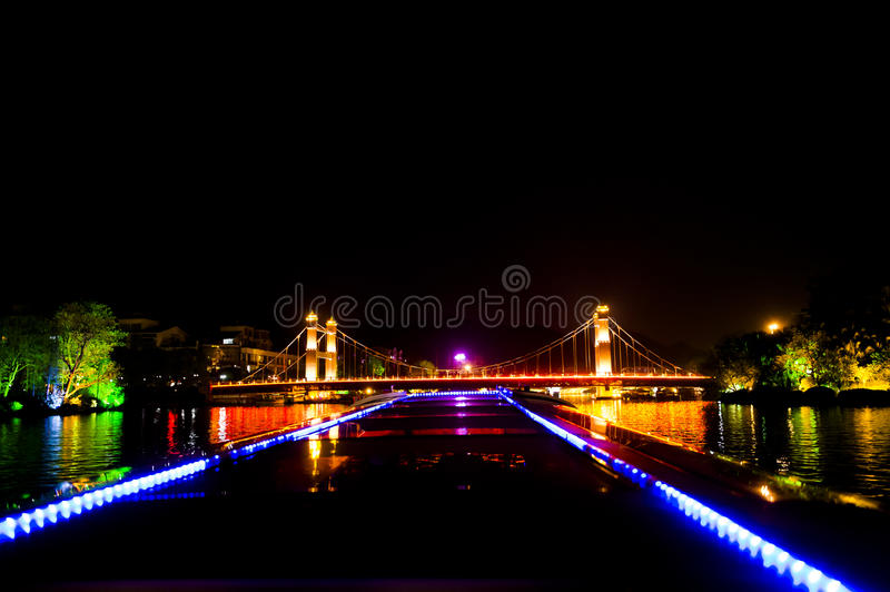 Night boat trip in Guilin, China royalty free stock images