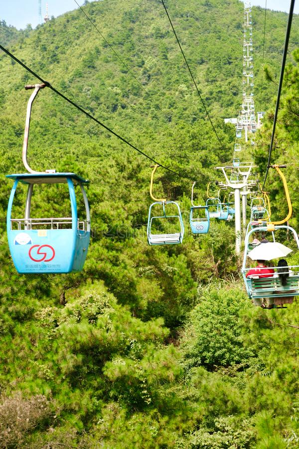 Guilin, China - July 16, 2018: Long cable car at Yaoshan Mountain. royalty free stock photos