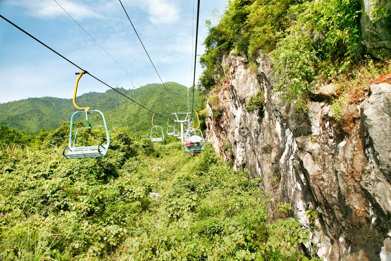 Guilin, China - July 16, 2018: Long cable car at Yaoshan Mountain. royalty free stock photography