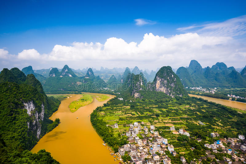 Guilin, China Karst Mountains. Karst Mountain landscape on the Li River in rural Guilin, Guangxi, China royalty free stock photo