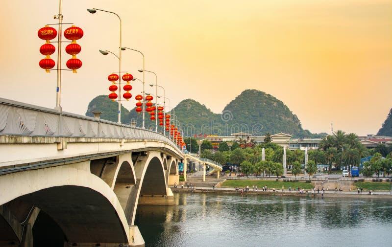 Download GUILIN, CHINA - SEPTEMBER 22, 2016: Bridge Over Li River In The Editorial Stock Photo - Image of beautiful, lantern: 89486213