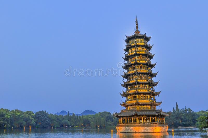 Guilin Chiny Siedem Gwiazdowy park Yangshuo i kras. zdjęcia royalty free