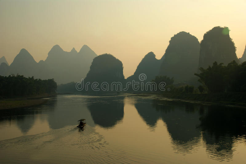 Guilin il fiume Lijiang in Cina fotografia stock