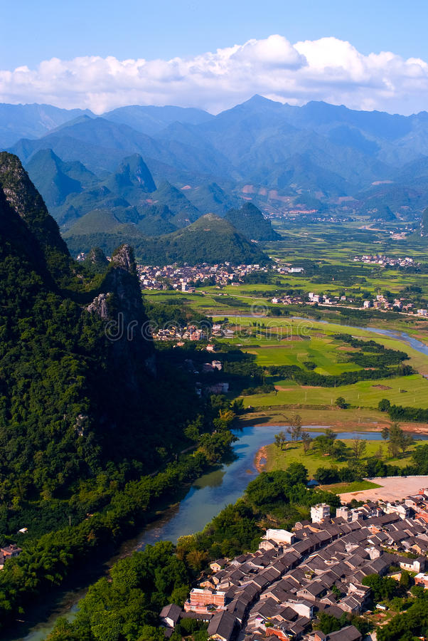 Guilin Landscape. Mountains and rivers in Guilin village, in xingping town, Yangshuo, china stock images