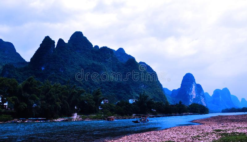 Guilin landscape in the arms of Lijiang river royalty free stock photo