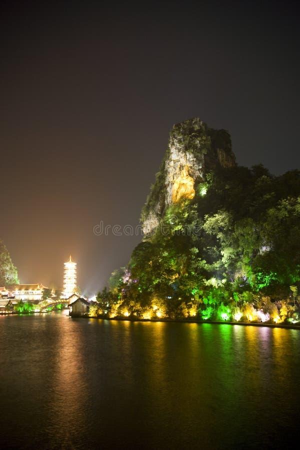 Download Guilin's Mulong Lake And Dai Cai Hill At Night Royalty Free Stock Photos - Image: 10550848
