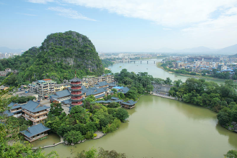 Guilin scenery. The landscape of Mulong Lake in Guilin, Guangxi, China stock photo