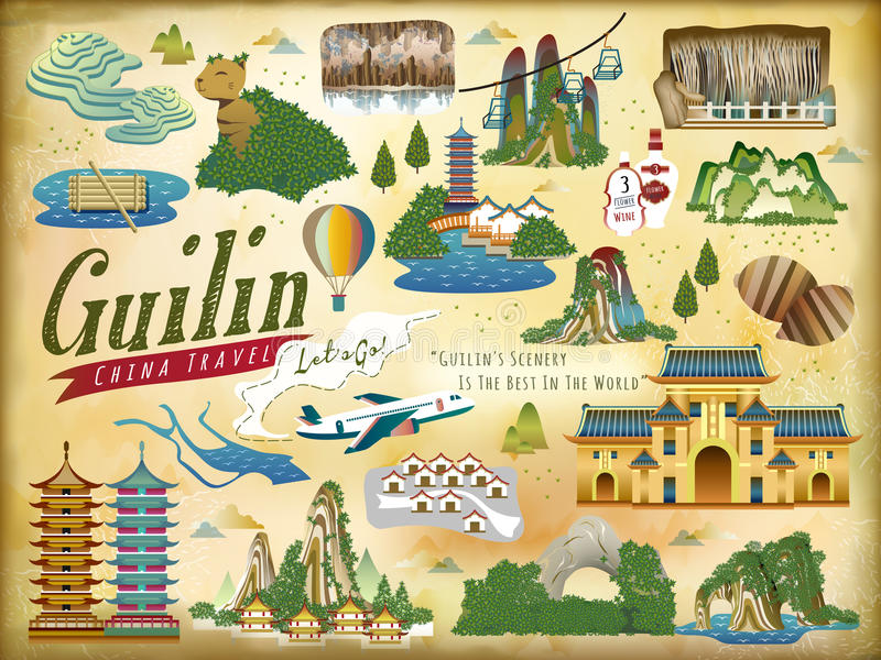 Download Guilin Travel Elements Collection Stock Vector - Illustration of scenery, flat: 90348354
