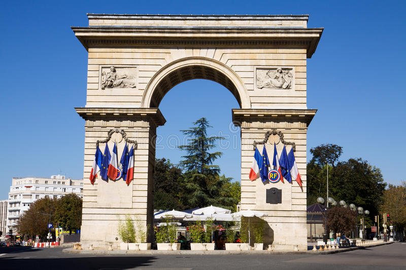 The Guillaume gate on Darcy square in Dijon, France royalty free stock image