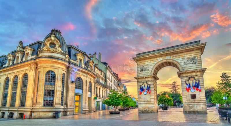The Guillaume Gate at sunset in Dijon, France royalty free stock photo